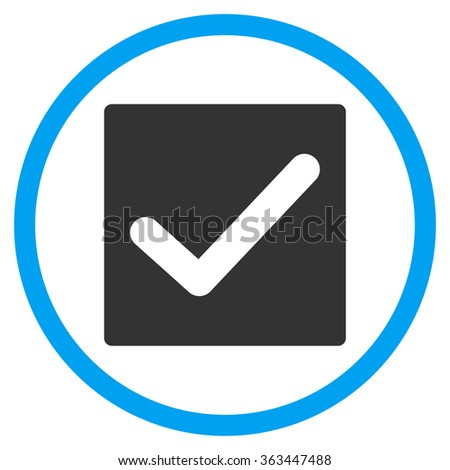 Check Box vector icon. Style is bicolor flat symbol, blue and gray colors, rounded angles, white background. - stock vector