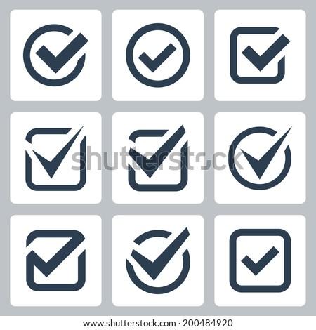 Check box vector icons set - stock vector