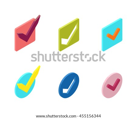 Check box vector icons vector set. Check vote icons vote mark sign choice yes symbol. Correct design check vote icons check mark right agreement voting form. Button question choose success graphic. - stock vector