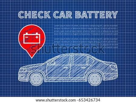 Blueprint car vector illustration eps 10 stock vector 253105021 check car battery vector illustration accumulator sign blue print graphic design car battery symbol malvernweather Choice Image