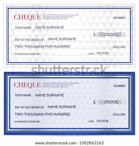 Check Cheque Chequebook Template Abstract Pattern Stock Vector (2018 ...