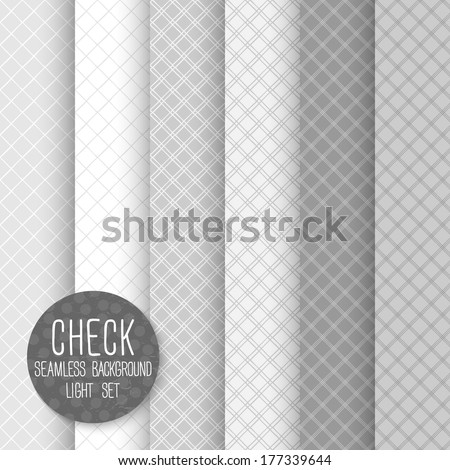 Check Diagonal Seamless pattern. Geometrical vector background. Neutral light set. Seamless pattern can be used for wallpaper, pattern fills, web page background, surface textures - stock vector