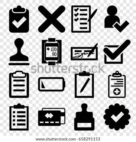 Check icons set. set of 16 check filled icons such as stamp, check list, medical clipboard, blood pressure measure, cancel, clipboard, tick, low battery, add user, credit card