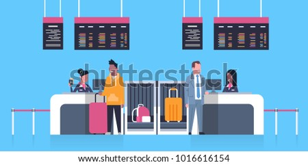 Check In Airport With Stuff Workers On Counter And Male Passengers With Luggage, Departures Board Concept Flat Vector Illustration