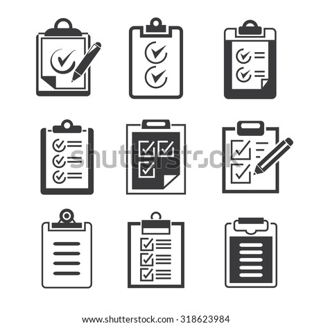 check list and clipboard icons - stock vector