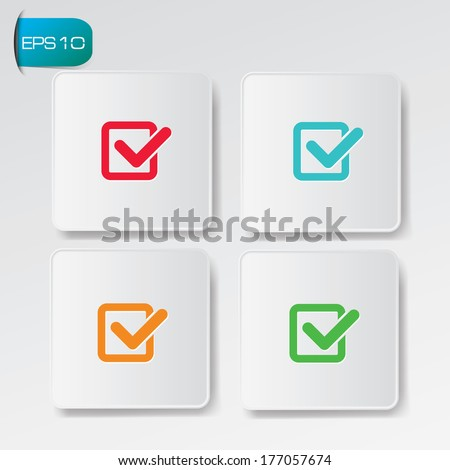 Check list buttons,vector - stock vector