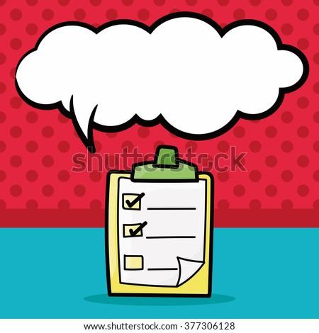 check list color doodle, speech bubble - stock vector