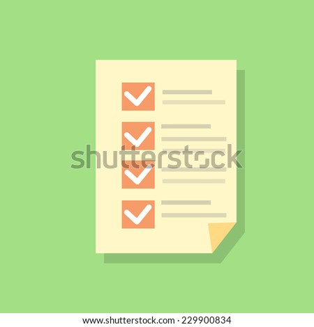 check list paper flat icons design vector shadow color object - stock vector