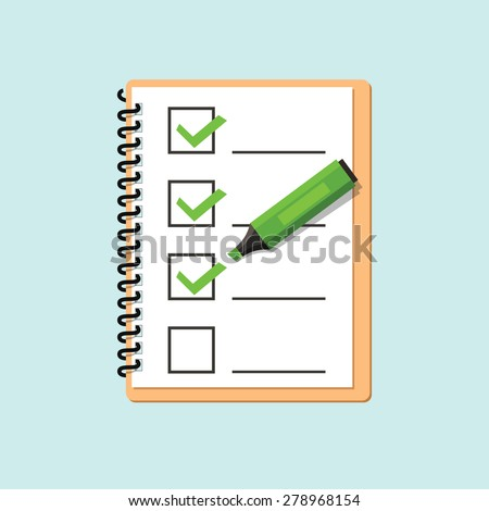 Check list with Marker pen. Illustration - stock vector