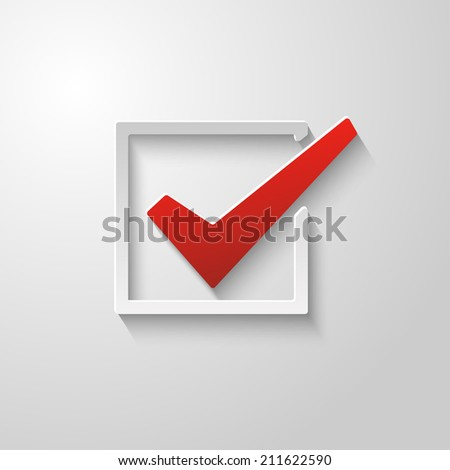 Check mark abstract design paper style - stock vector