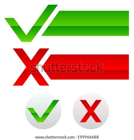 Check mark and cross, buttons and banners - stock vector