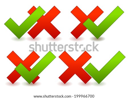 Check mark and cross compositions - stock vector