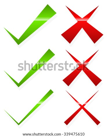 Check mark and cross set. Thin and thick version. - stock vector