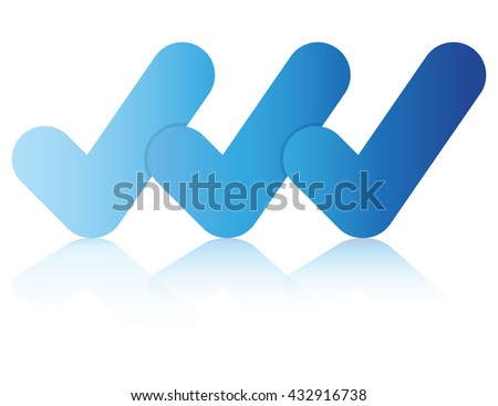 check mark business presentation process diagram, blue color theme - stock vector