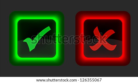 Check mark buttons on black background. Vector illustration