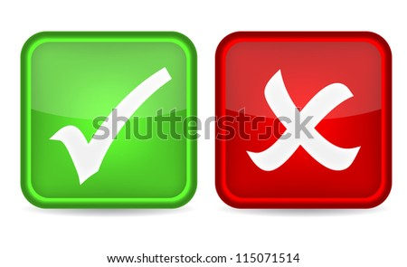 Check mark buttons on white background. Vector illustration - stock vector