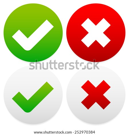 Check-mark, cross set - stock vector