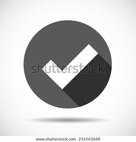 Check Mark  Flat Icon with long Shadow. Vector Illustration.  - stock vector