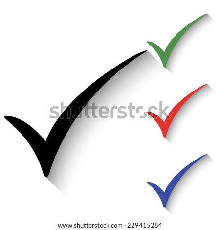 check mark icon - black and colored (green, red, blue) illustration with shadow - stock vector