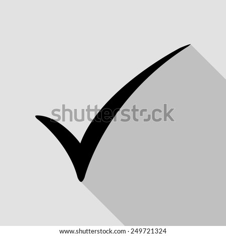 check mark icon - black illustration with long shadow - stock vector