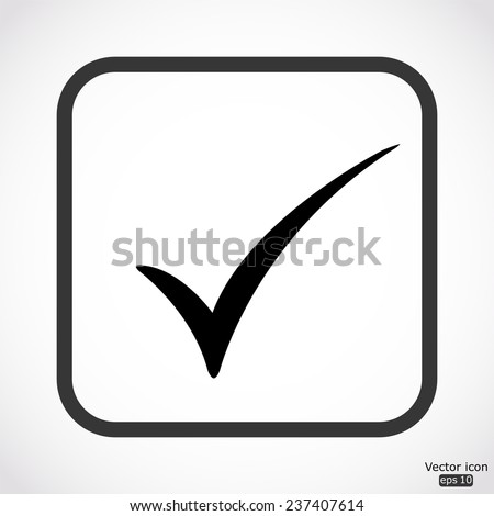 check mark icon - black vector illustration - stock vector