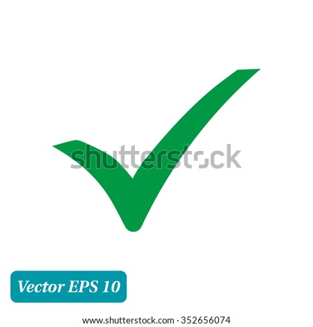 Check mark icon. Flat design style. Vector EPS 10. - stock vector