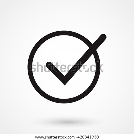 Check mark icon isolated on background. Modern flat pictogram, business, marketing, internet concept. Trendy Simple vector symbol for web site design or button to mobile app. Logo illustration - stock vector