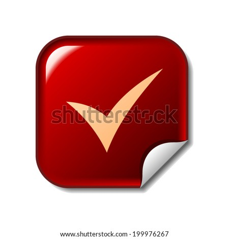 Check mark icon on red web sticker