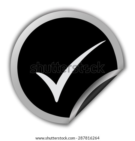 check mark icon - round vector sticker - stock vector