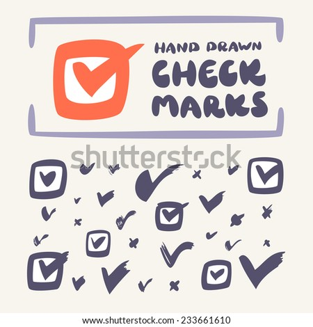 Check mark icon set. Hand drawn vector illustration. - stock vector