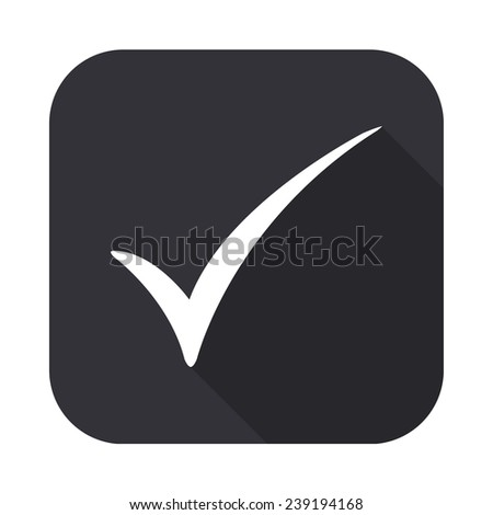check mark icon - vector illustration with long shadow  - stock vector