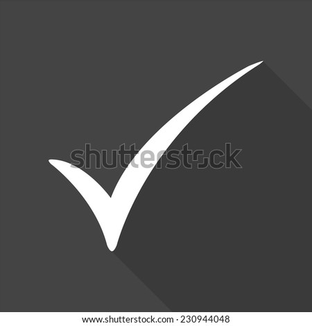 check mark icon - vector illustration with long shadow isolated on gray  - stock vector