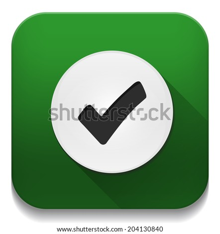 check mark icon With long shadow over app button