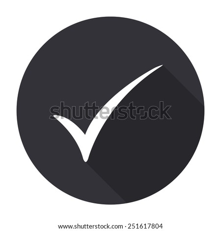 check mark icon with long shadow - vector round button - stock vector