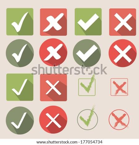 Check mark icons - stock vector