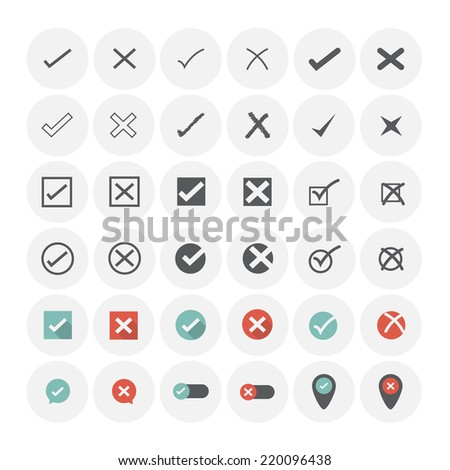 Check mark icons. Vector Illustration. - stock vector