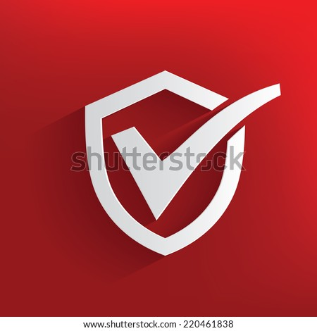Check mark,security symbol on red background,clean vector - stock vector
