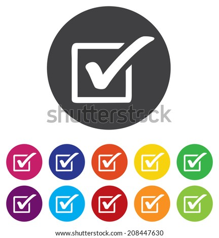 Check mark sign icon. Checkbox button - stock vector