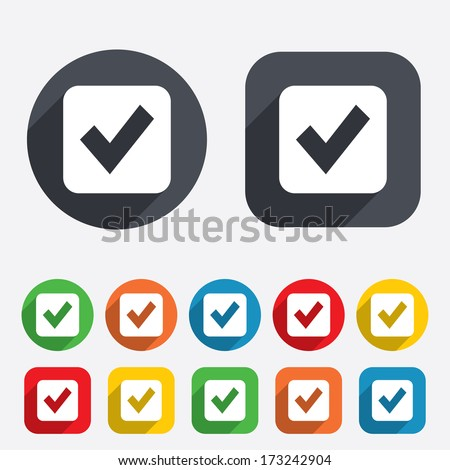 Check mark sign icon. Checkbox button. Circles and rounded squares 12 buttons. Vector - stock vector