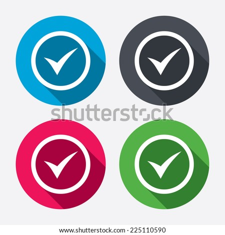 Check mark sign icon. Yes circle symbol. Confirm approved. Circle buttons with long shadow. 4 icons set. Vector - stock vector