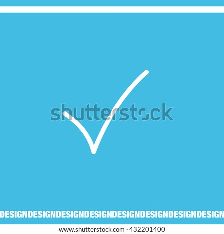 Check mark sign line vector icon. OK sign line icon.