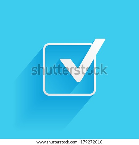 Check mark symbol, flat icon isolated on a blue background for your design, vector illustration - stock vector