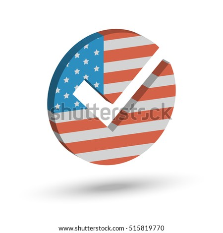 Check mark symbol in the form of American flag