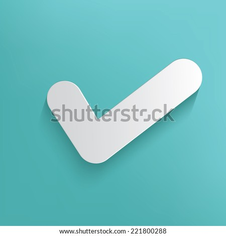 Check mark symbol on blue background,clean vector - stock vector