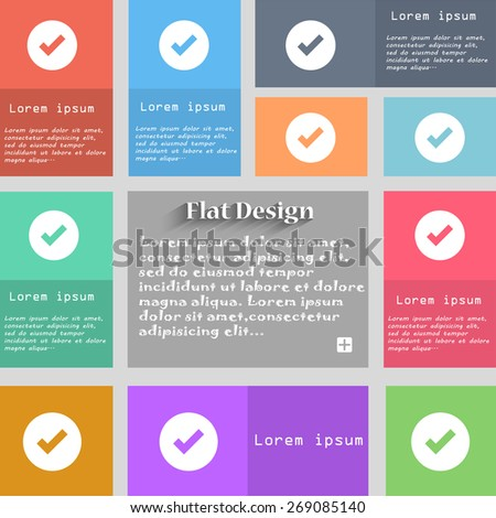 Check mark, tick icon sign. Set of multicolored buttons. Metro style with space for text. The Long Shadow Vector illustration - stock vector