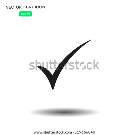 check mark, tick, yes, vote icon with shadow on a grey background