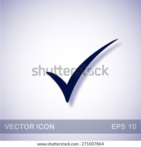 Check mark vector icon - dark blue illustration with blue shadow - stock vector
