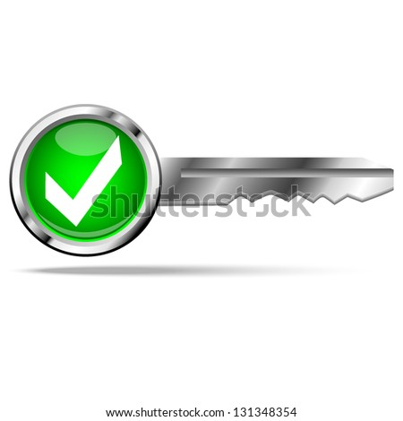check mark with key - stock vector