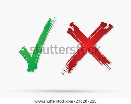 Check Mark,X,Yes,No, icon, graphic, symbol, Vector.  - stock vector
