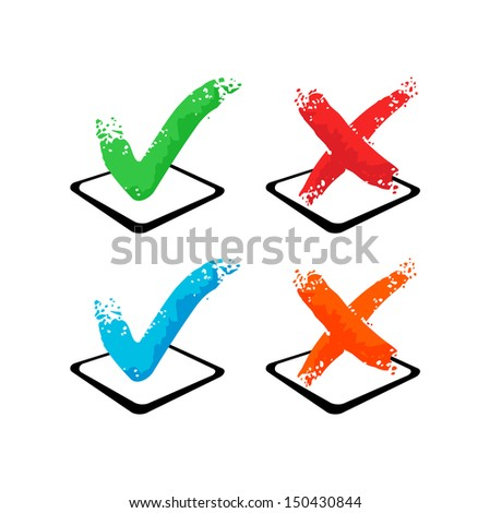 Check mark - Yes and No - stock vector